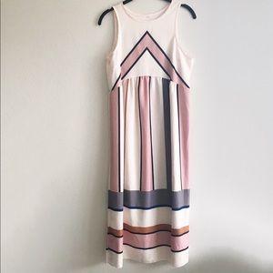 Pink Chevron Striped Sleeveless Midi Dress